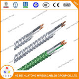 Câble d'alimentation plaqué de métal avec le câble blindé de Mc de la bande 600V en acier du certificat 12-2 d'UL