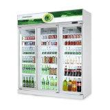 スーパーマーケットの飲料および飲み物の表示のためのガラスドアの表示スリラー
