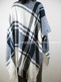De acryl Manier Dame Winter Warm Blue& White controleerde Geweven Poncho
