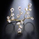 실제적인 금 도금된 구리 형식 여자 지르콘 종려 팔찌 R1087