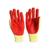 Logotipo impreso laminado de guantes de látex con material de algodón en el interior