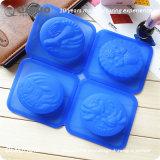 普及した4つのハンドメイドの石鹸型のシリコーンゴム型