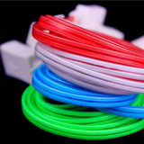Cable de carga del USB de los datos de la TPE de la iluminación de destello para el teléfono móvil