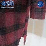 빨간 격자 무늬 단추 긴 소매 형식 가을 긴 t-셔츠