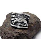 Aço inoxidável do anel masculino do dragão do estilo chinês