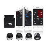 De Veiligheid van het Systeem van het Alarm van het Systeem TPMS van de Monitor van de Druk van de Band van de Vertoning van Bluetooth APP van de Interface van OBD met 4 Externe Voertuigen van de Auto van de Sensor