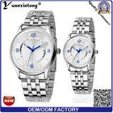 Relógios de Women&Men da faixa do couro do presente da promoção do relógio do amante dos pares do projeto simples da forma Yxl-338 barato