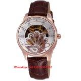 Relógio das mulheres automáticas do Poplar bonito com a cinta de couro genuína Fs602