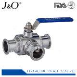 Válvula de esfera sanitária do aço inoxidável 3way da braçadeira da venda quente