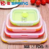 Envase plegable superior del rectángulo de almuerzo del silicón de la calidad