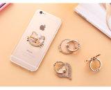 Metal lindo del gato sostenedor del anillo del teléfono móvil de la rotación de 360 grados