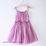 Kind-Kleid-Mädchen falteten Chiffon- Fußleisten-Baumwollprinzessin Dress