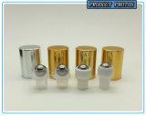 rolo de vidro ambarino do perfume 10ml no frasco com a esfera de rolo da tampa de prata e do aço inoxidável