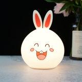 Changement de couleur intérieure petit lapin Silicone LED lampe de nuit pour enfants