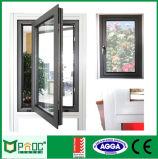 Tissu pour rideaux en aluminium Windows d'ouverture d'oscillation avec la glace Tempered Pnoc0026cmw