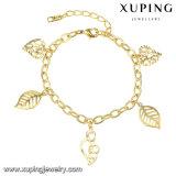 74562 Goldeinfaches Bling Blatt-Entwurfs-Schmucksache-Armband der Form-14k für Frauen