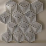 最上質の磨かれた立方体3Dのイタリアのひし形のカラーラの白い大理石のモザイクおよびタイル