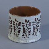反応Glazing&#160の一義的な手塗りの花模様の蝋燭ホールダー;
