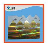 Etiquetas adhesivas impresas fondo del oro con efecto del holograma