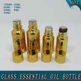 Bouteille en verre d'huile essentielle d'or brillant Electroplated chaud de vente