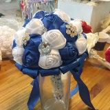 Ramalhete nupcial da flor dos ramalhetes de cristal do casamento de Rosa do cetim