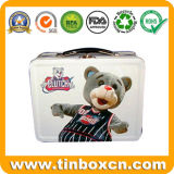 Almuerzo de la caja de estaño metálico con asa para niños, regalo Contenedor de estaño