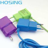 carregador da parede do USB de 5V 1A colorido com cabo