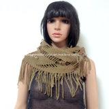 Sciarpa di collo della signora Fashion Knitted acrilico con frangia