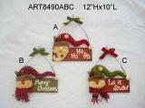 Natale di legno Decoration-2asst. del segno della famiglia Wreath+Greeting di natale