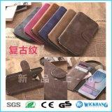 Caso de couro retro da aleta da carteira para o telefone da galáxia de Samsung