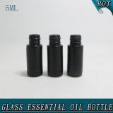 5ml het zwarte Broodje van het Glas op Fles met de Fles van de Bal van de Rol van het Roestvrij staal voor Essentiële Olie