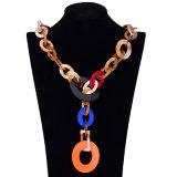 Bijou pendant de collier de foulard de grands cercles colorés acryliques de mode