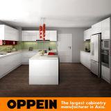 Alta laca blanca moderna y cabina de cocina gris clara de la melamina (OP16-L08) del lustre