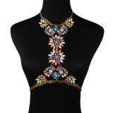 ファッション・デザイナーのラインストーンの水晶ダイヤモンドの花鎖ボディ宝石類