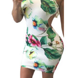 Retro de flores de impresión abierta sin mangas mini vestido