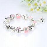 New Arrival Lovely Dog Pink Heart Flower encantos pulseiras para mulheres