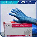 Перчатки рассмотрения PVC освобождаются/голубой цвет с порошком