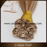 Высочайшее качество двойной обращено связали руки Weft волос