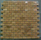 La vena de madera de color amarillo mosaico de mármol, cocina de pared