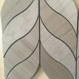 De bladvormige Houten Waterjet van het Mozaïek van de Korrel Witte Marmeren Tegel van het Mozaïek