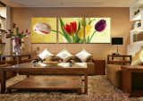 Die 3 Stück-druckte moderne Wand-Kunst die Farbanstrich-Tulpen, die Raum-Dekor gestaltete Kunst-Abbildung angestrichen auf Segeltuch-Ausgangsdekoration Mc-235 anstreichen