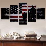 Segeltuch-druckt Hauptdekor-Rahmen-Wand-Kunst-Abbildungen 5 des Flagge-Farbanstrich-Stücke Wohnzimmer-HD abstrakte Soldat-Plakate