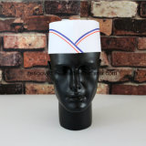 Las tapas de forraje de papel de Chefs Catering sombrero blanco con tiras impresas
