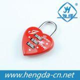 Yh1245 vendem por atacado o cadeado dado forma coração da combinação do fechamento da bagagem