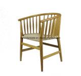 Weinlese-rundes Holz-Entwurf, der Arm-Stuhl speisend spinnt