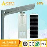réverbère 30W solaire Integrated avec la batterie au lithium LiFePO4
