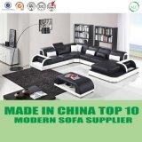 Sofa de luxe de cuir de forme de la salle de séjour U de tailles importantes