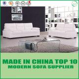 Sofá blanco de la sala de estar del cuero genuino de Loveseat de los muebles de oficinas