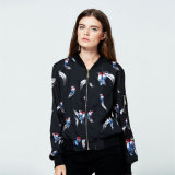 As mulheres grossista impresso Floral Bomber casaco