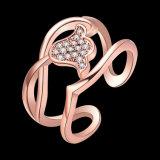 매력 꽃 모양 입방 지르코니아 다이아몬드 열려있는 반지 인공적인 보석